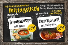 MT 19.+20.08..2020 Tomatensuppe/Currywurst